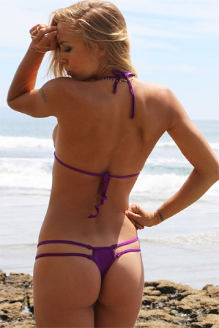 Plum Double Strap Thong Bikini