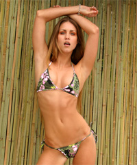 Connected T-Top and Tonga Tie Thong Bottom Bikini (Green Print)