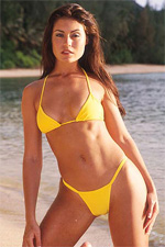 Ms. St. Croix in Yellow Berrydog Micro Thong Bikini