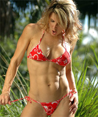 Red Flower Print Tonga Tie Thong Bikini