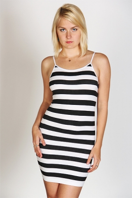 Striped Beach Dress (White/Black)