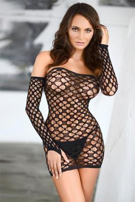 Off The Shoulder Fishnet Bodystocking Dress