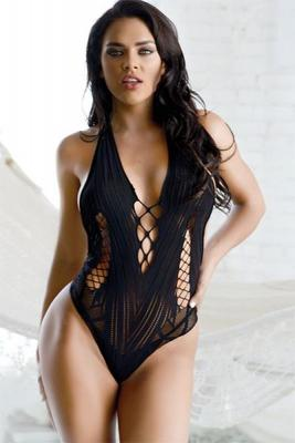 Plunge Lace-Up Bodysuit Bodystocking
