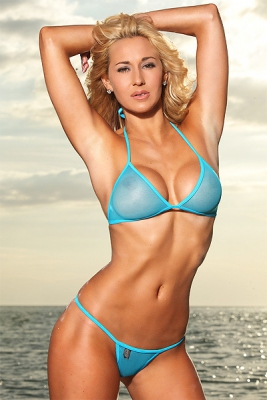 Sheer Mesh G-String Bikini Set (Blue)