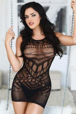 Sleeveless Tribal Mesh Fishnet Bodystocking Dress